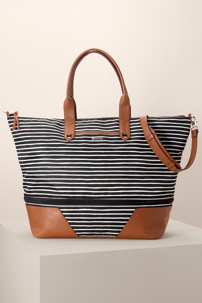 d6e71c1a5c2e Black and White Stripe Weekender Bag   Striped Weekender Bag ...