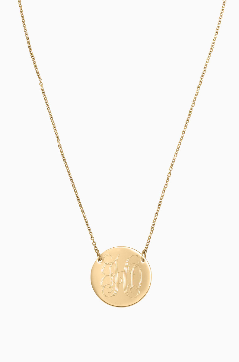 Engraved rings bracelets necklaces stella dot signature engravable disc necklace gold n428g aloadofball Choice Image
