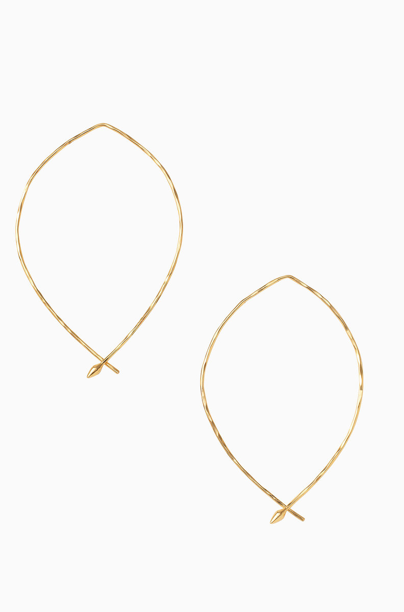 Hammered Wire Large Hoops Gold E325g