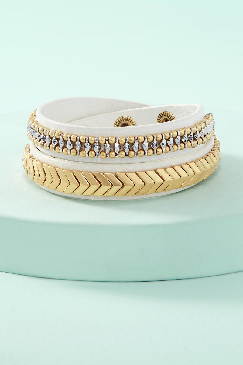 Gilded Path Double Wrap Bracelet White B352wh