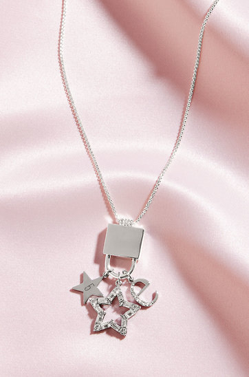 KEEP-It Short Lock Necklace Sparkle & Shine 3-Charm Set