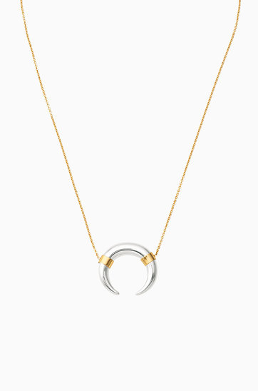 en gold and white crescent necklaces chokers necklace