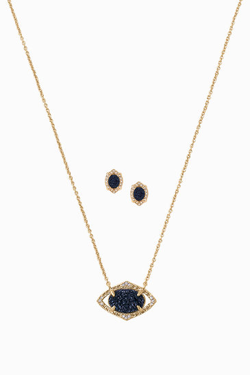 Pave and navy pendant and studs stella dot charlotte pendant set deep navy n937nv aloadofball