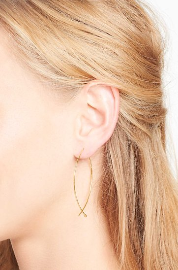 Hammered Wire Large Hoops Gold