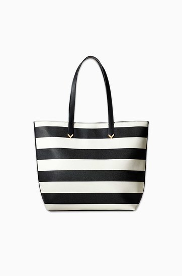 Black and White Stripe Tote Bag | Stella & Dot | Stella & Dot