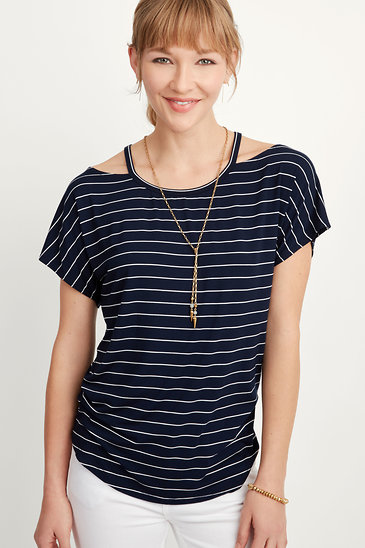 4ea92d949fe Navy and White Striped Cut Out Top | Stella and Dot | Stella & Dot