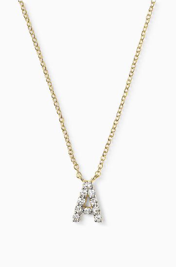 Diamond letter gold necklace stella dot covet pav initial yellow gold n670yg mozeypictures Images