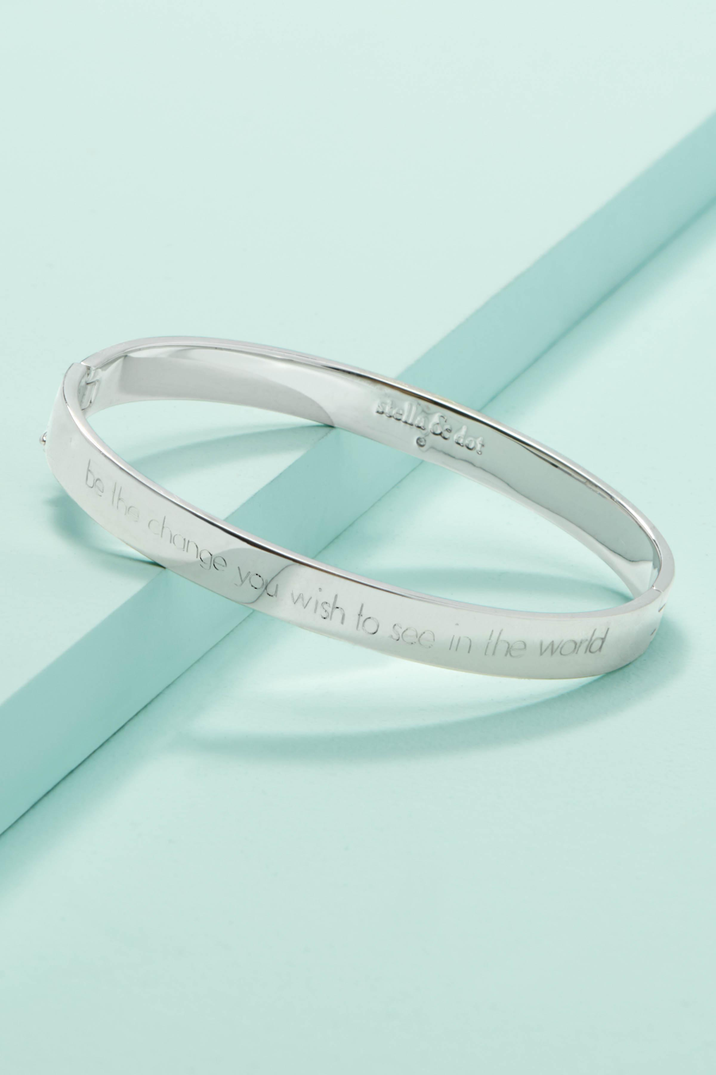 31e472975 Silver Signature Engravable Bangle Bracelet |Stella and Dot | Stella & Dot