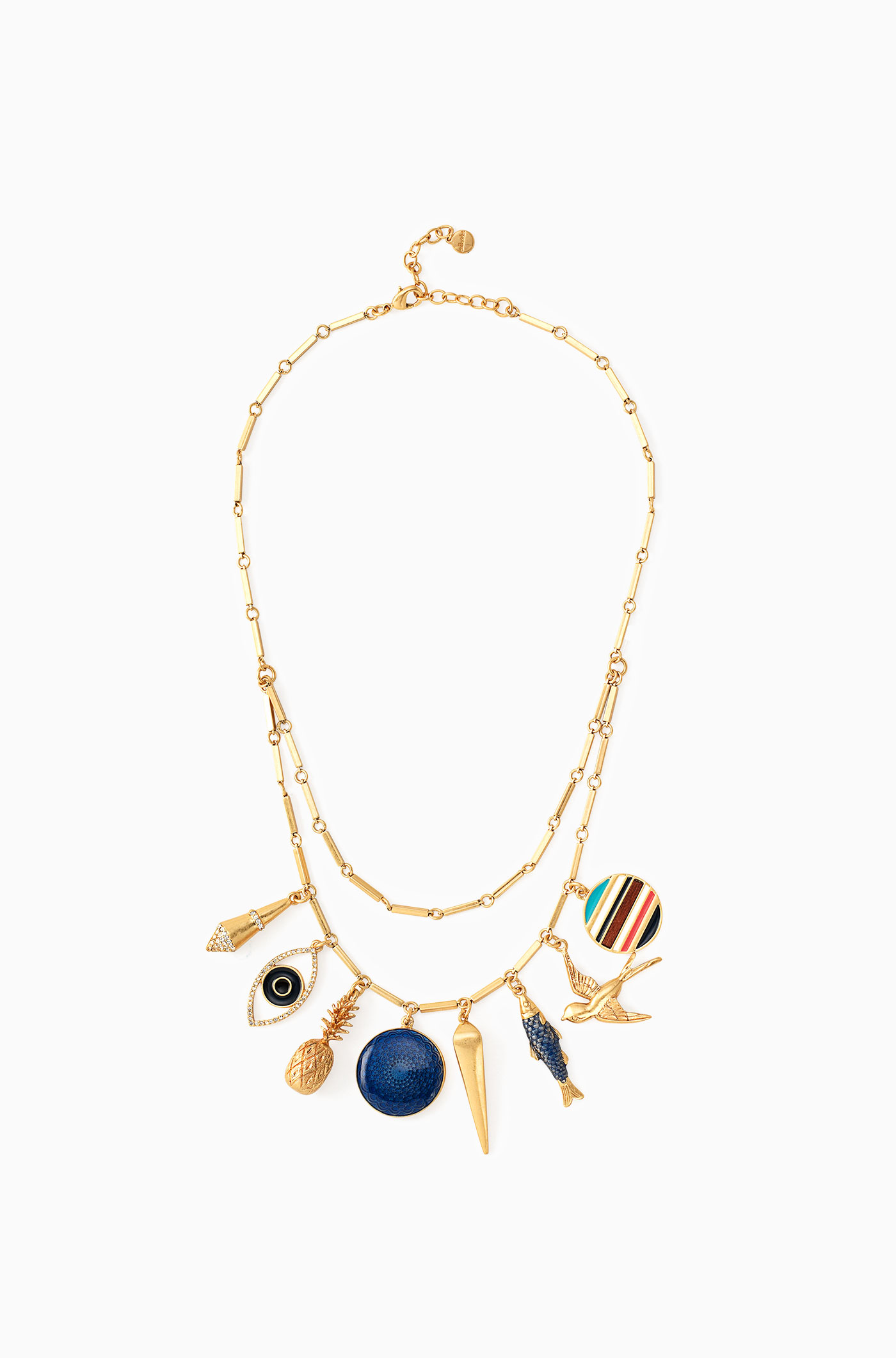 gold necklace with sea inspired charms stella dot