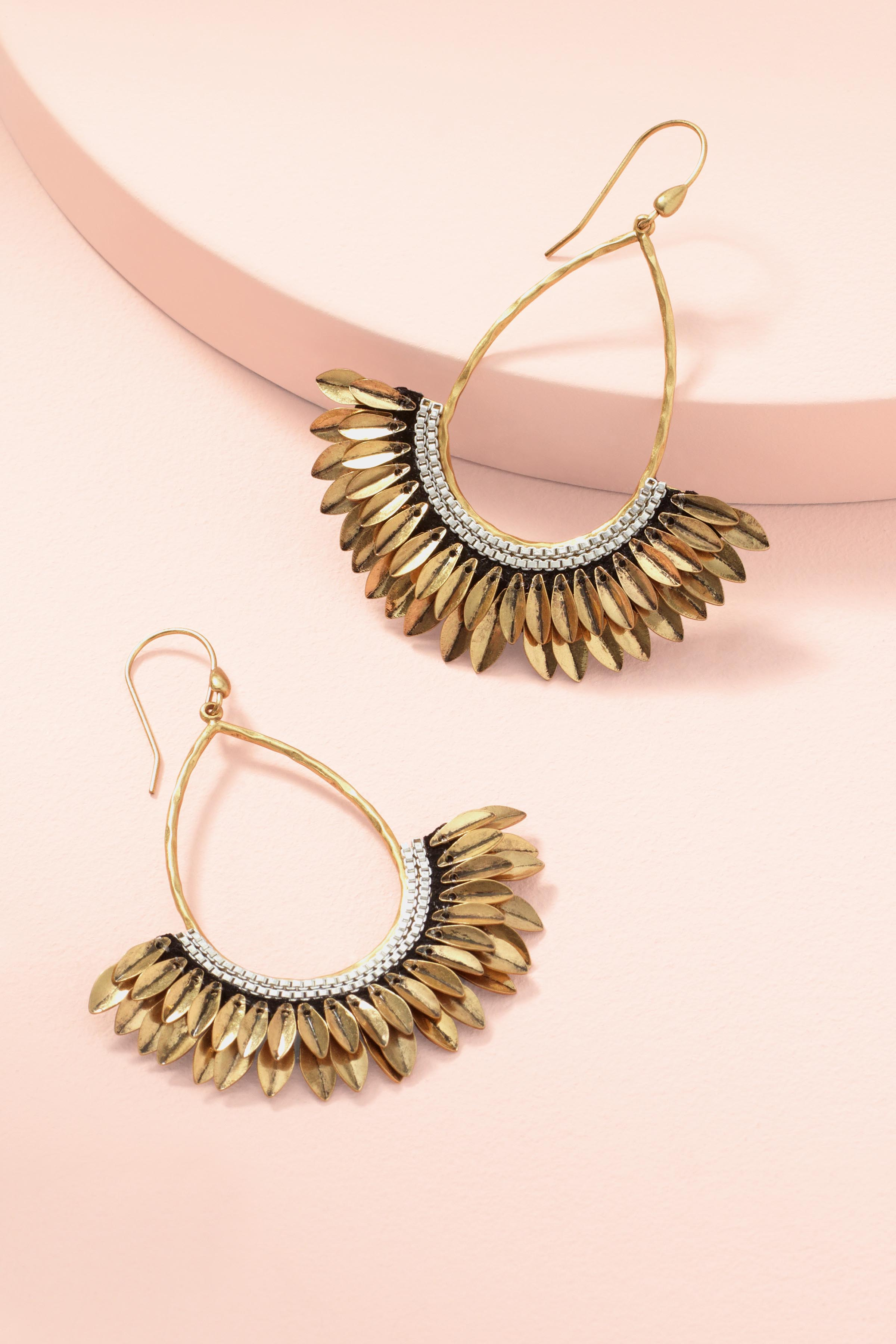 Gold Metal Feather and Chain Pegasus Statement Earrings ...