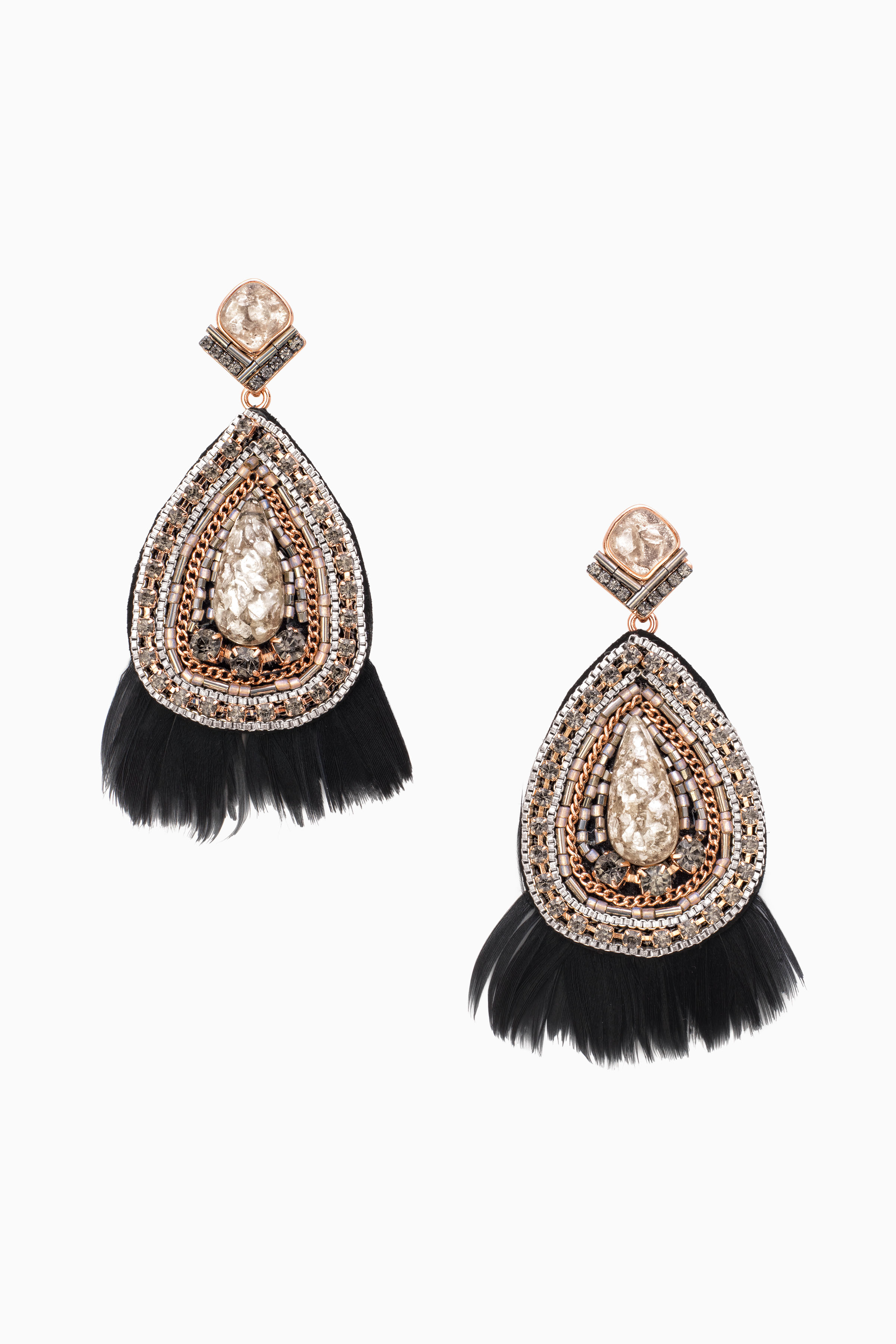 Black feather statement earrings stella dot stella dot arubaitofo Image collections