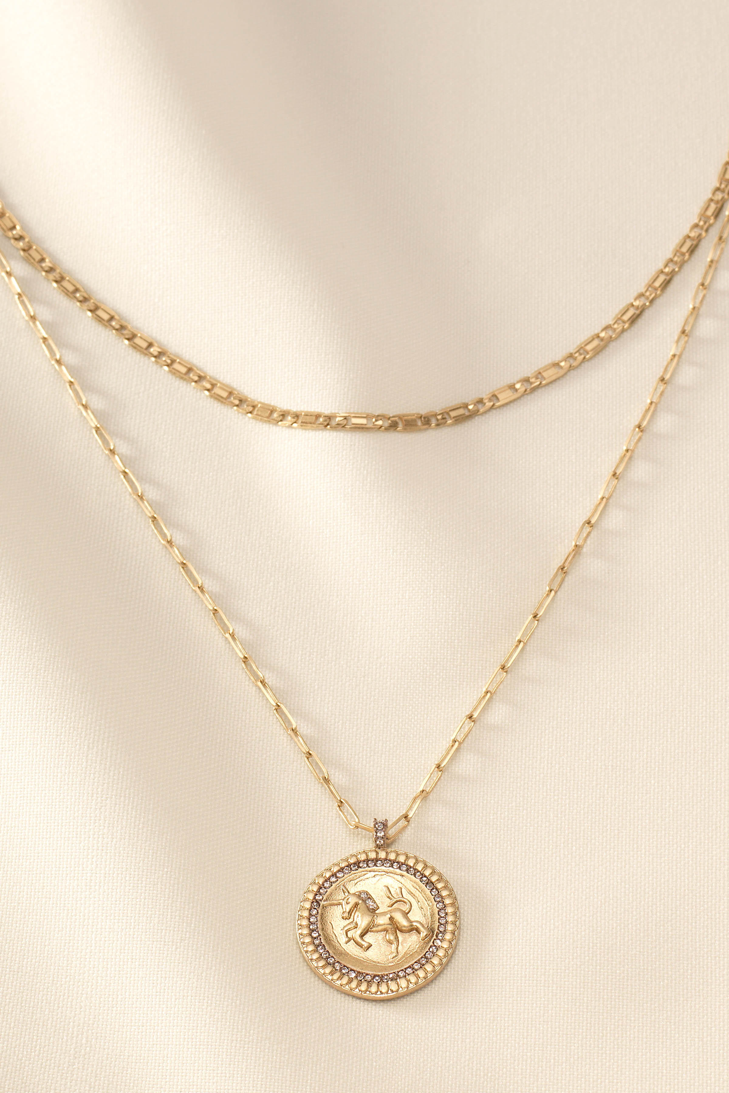 gold necklace Horn necklace coin necklace double horn white horn dangle