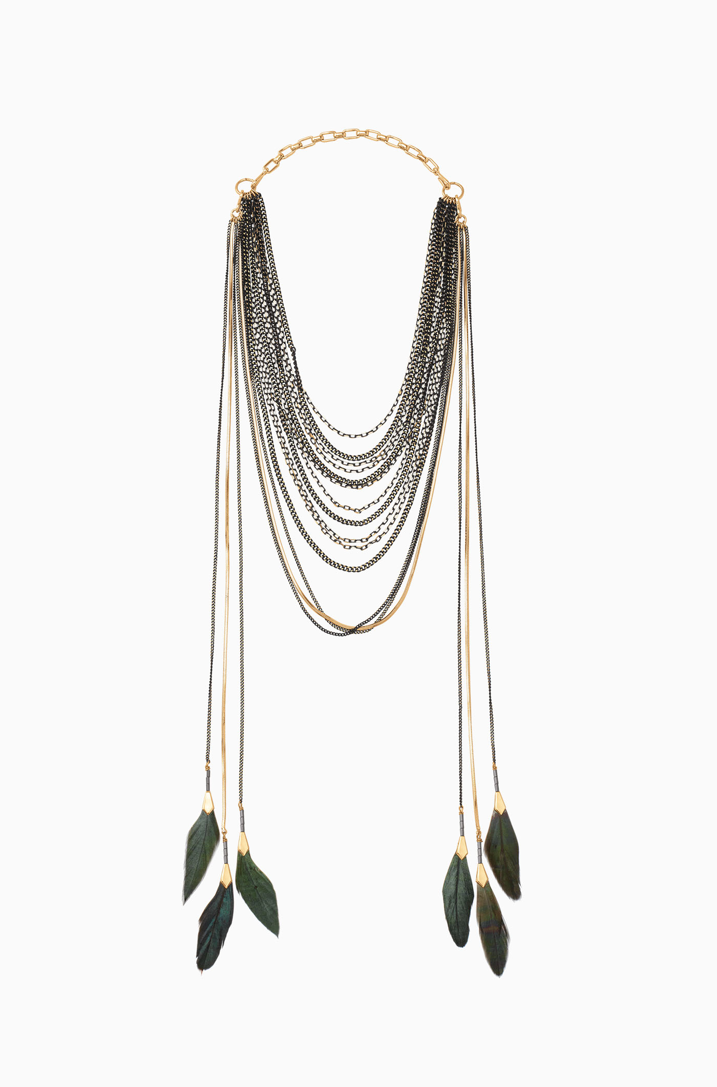 charm as dipped shown on feathered model light chain gold dogeared necklace feather a