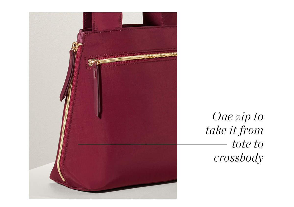 One zip to take it from tote to crossbody