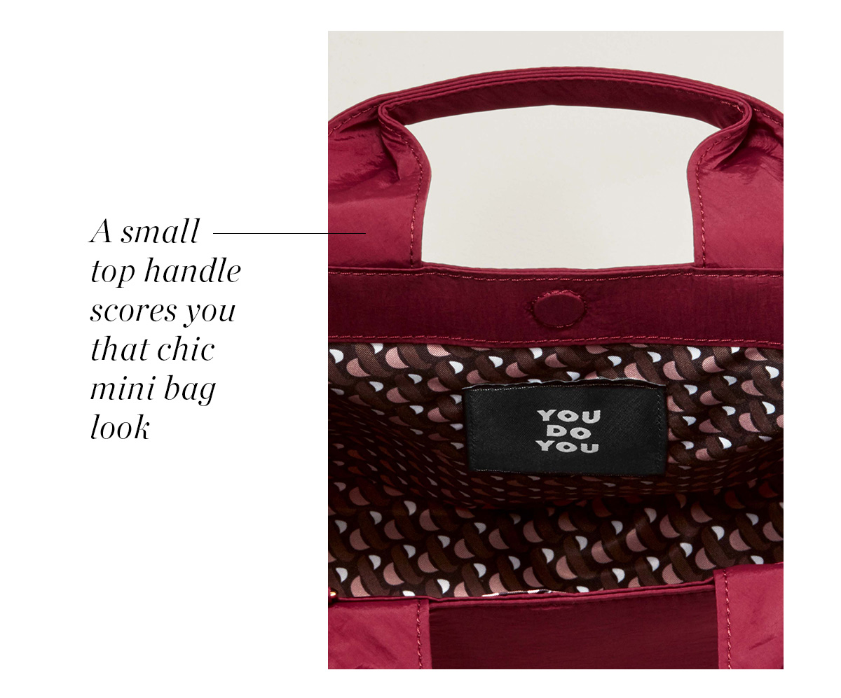 A small top handle scores you that chic mini bag look